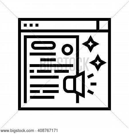 Distributing Press Release Line Icon Vector. Distributing Press Release Sign. Isolated Contour Symbo