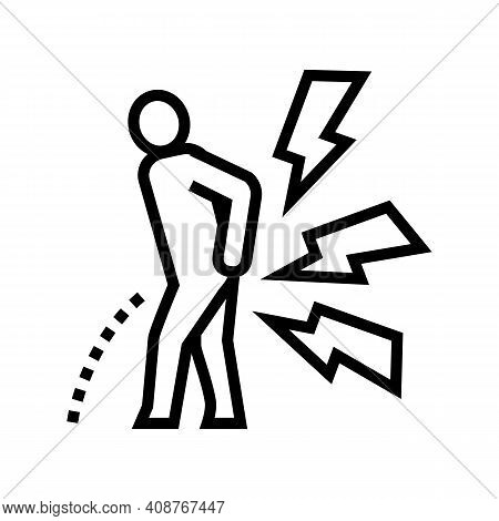 Pain When Urinating Line Icon Vector. Pain When Urinating Sign. Isolated Contour Symbol Black Illust