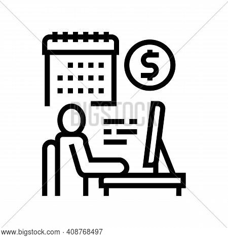 Businessman Trading Online Line Icon Vector. Businessman Trading Online Sign. Isolated Contour Symbo