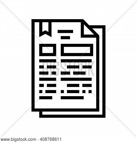 Protocol Document Line Icon Vector. Protocol Document Sign. Isolated Contour Symbol Black Illustrati
