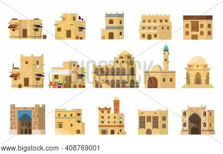 Flat Vector Set Of Authentic Traditional Arabian Mud Brick Houses. Islamic Architecture. Isolated On