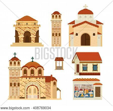 Vector Set Of Byzantinian Buildings. Ancient Architecture. Churches, Rotunda, Living House, Ceramics