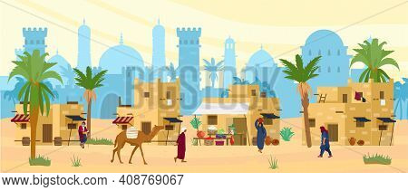 Arabic Desert Landscape With Traditional Mud Brick Houses And People. Ancient Temple At The Backgrou