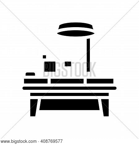 Operating Table Glyph Icon Vector. Operating Table Sign. Isolated Contour Symbol Black Illustration