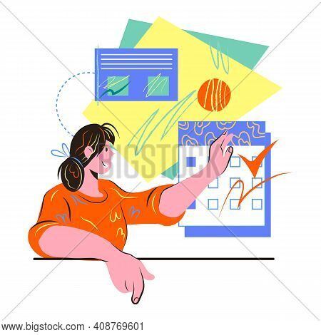 Business Plan And Time Management With Woman Making Schedule And Todo List, Vector.