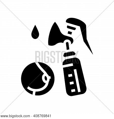 Pumpking Milk With Breast Pump Glyph Icon Vector. Pumpking Milk With Breast Pump Sign. Isolated Cont