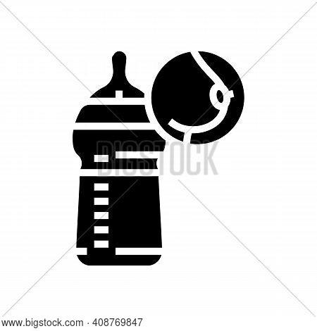 Bottle Feeding Glyph Icon Vector. Bottle Feeding Sign. Isolated Contour Symbol Black Illustration