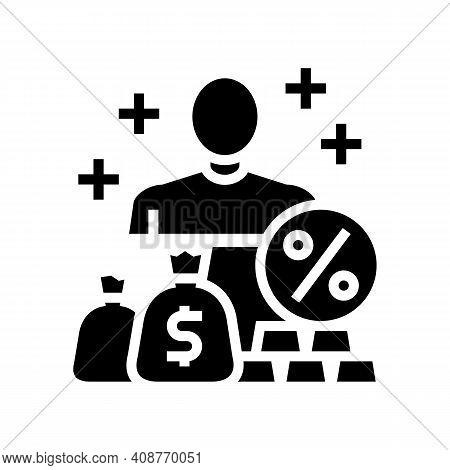 Economic Expert Glyph Icon Vector. Economic Expert Sign. Isolated Contour Symbol Black Illustration