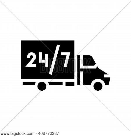 Truck Around Clock Free Shipping Service Glyph Icon Vector. Truck Around Clock Free Shipping Service