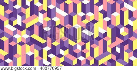 Pattern Of Colorful Cubes. Cubical Abstract Background Vector Illustration.