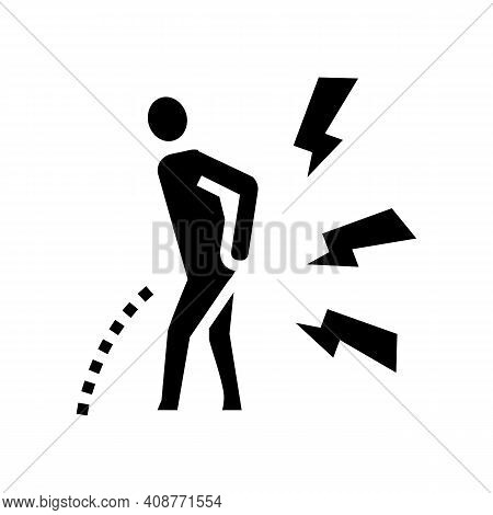 Pain When Urinating Glyph Icon Vector. Pain When Urinating Sign. Isolated Contour Symbol Black Illus