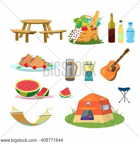 Vector Picnic Set. Plates With Food, Hammock, Picnic Basket, Guitar, Folding Chair, Thermos, Drinks