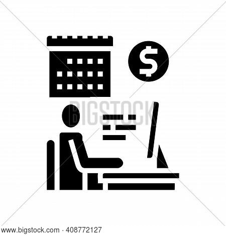 Businessman Trading Online Glyph Icon Vector. Businessman Trading Online Sign. Isolated Contour Symb