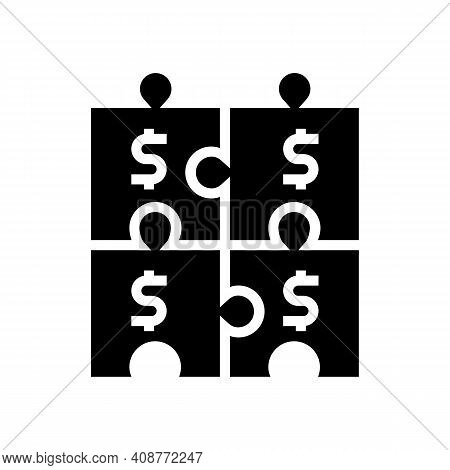 Financial Puzzle And Diversification Glyph Icon Vector. Financial Puzzle And Diversification Sign. I