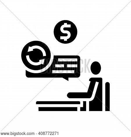 Creditor Businessman Glyph Icon Vector. Creditor Businessman Sign. Isolated Contour Symbol Black Ill