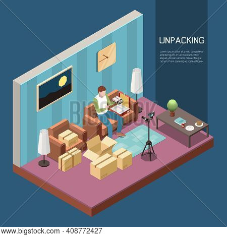 Vlogging Isometric Composition With Man Recording Video Of Unpacking Cardboard Boxes 3d Vector Illus