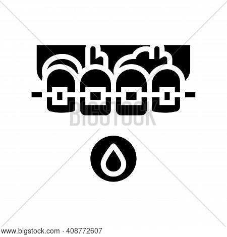 Blood From Tooth Braces Glyph Icon Vector. Blood From Tooth Braces Sign. Isolated Contour Symbol Bla