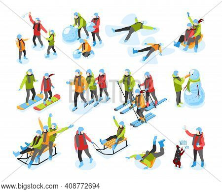 Winter Fun Isometric Icons Set With Sleighing Skiing Snowboarding Building Snowman Making Snow Angel