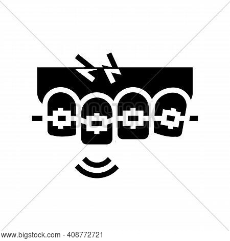 Pain From Tooth Braces Glyph Icon Vector. Pain From Tooth Braces Sign. Isolated Contour Symbol Black