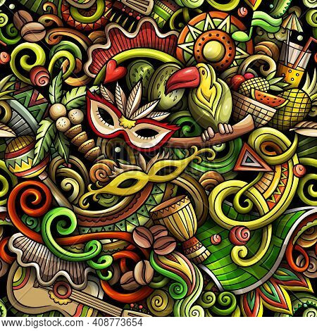 Cartoon Doodles Brazil Seamless Pattern. Backdrop With Brazilian Culture Symbols And Items. Colorful