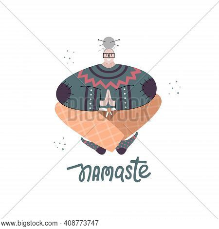 Aged Woman Doing Yoga With Namaste Lettering