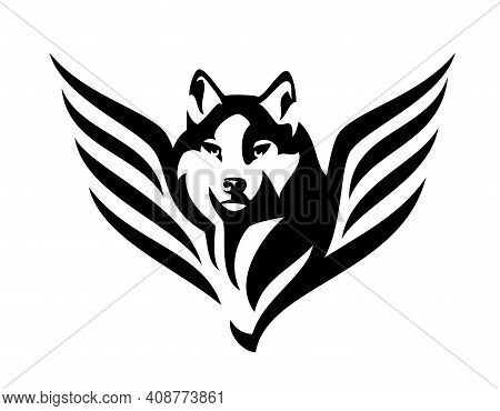 Wild Wolf Or Husky Sled Dog Head And Wings Portrait - Mythical Animal Looking Forward Fool Face Blac