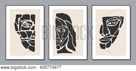 Set Of Minimalist Contemporary Portrait Of Woman Beauty Surreal Face