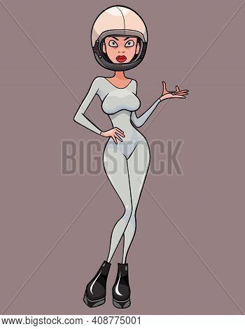 Cartoon Beautiful Slender Woman In Gray Jumpsuit And Astronaut Helmet
