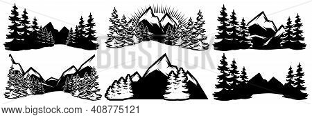 A Set Of Templates For Badges With Mountains And Coniferous Forest In Different Design. Vector Monoc