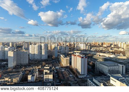 Panorama Of Moscow From A Skyscraper. Multi-storey Apartments And Commercial Buildings In The Foregr
