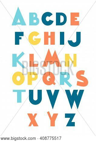 Vector Set Of Three Cartoon Funny Difference English Alphabets. Cute Colorful Vector English Alphabe