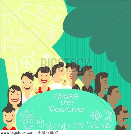 Vector Illustration. A Group Of People In A Chain Shares Positive Things With Each Other. Smiles And