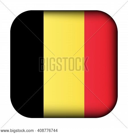 Glass Light Ball With Flag Of Belgium. Squared Template Icon. Belgian National Symbol. Glossy Realis