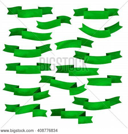 Set Of Green Flat Ribbons Isolated On White Background. Ribbon Banner Vector Illustration. Watercolo