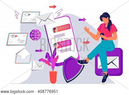 Messaging, Postal Service With Woman Checking Mailbox Online, Flat Vector Isolated.