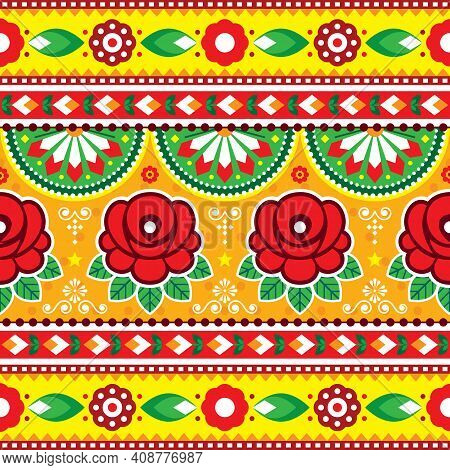Indian And Pakistani Truck Art Vector Seamless Pattern Design With Roses, Floral Diwali Vibrant Patt