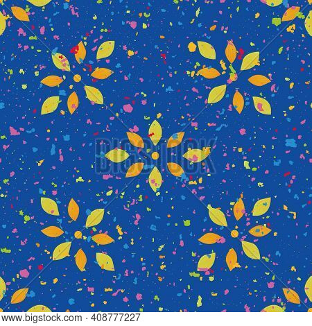 Holi Festival Inspired Wildflower Blossom And Paint Spatter Seamless Pattern Vector Background. Trop