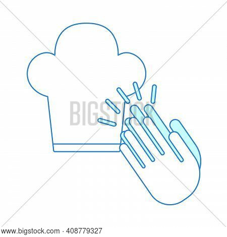 Clapping Palms To Toque Icon. Thin Line With Blue Fill Design. Vector Illustration.