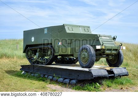 Normandy, France - July 4, 2017: Army Commemorative Vehicles, Along The So-called Utah Beach, At The
