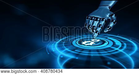 Integration Data System Technology Concept. Robotic Hand Pressing Virtual Button 3d Render.
