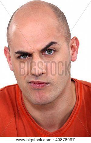 Expressive bald man poster