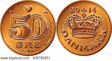 Obverse And Reverse Of Danish Money Tin-bronze 50 Ore Coin. Krone, Official Currency Of Denmark, Gre