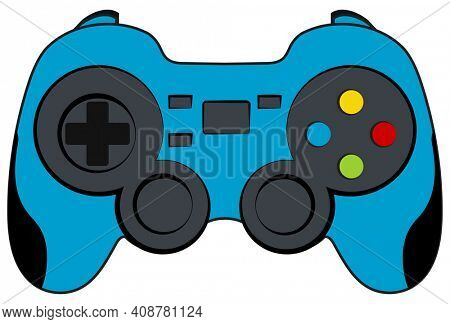 Blue Console Game Controller with Clipping Path Isolated on White
