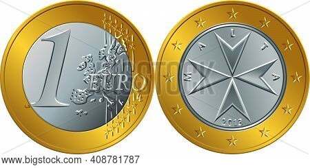 Obverse And Reverse Of Maltese Money One Euro Coin With The Image Of Maltese Cross