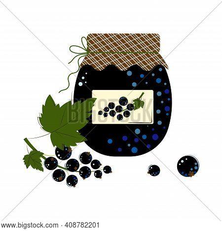 Jar Of Blackcurrant Jam. Homemade Jam From Fresh Berries.