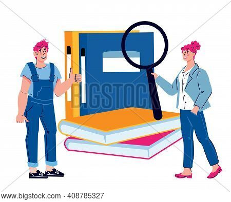 Business People On Backdrop Of Huge Files Of Documents And Accounting Books, Cartoon Vector Illustra