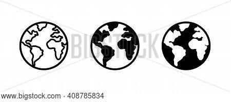 World Planet Icon, Globe Icon. Planet Earth Icons Button, Vector, Sign, Symbol, Logo, Illustration,