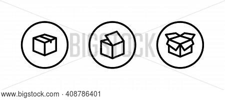 Box Icon. Package, Delivery Boxes, Cargo Distribution, Export, Return Parcel. Shipment Of Goods, Ope