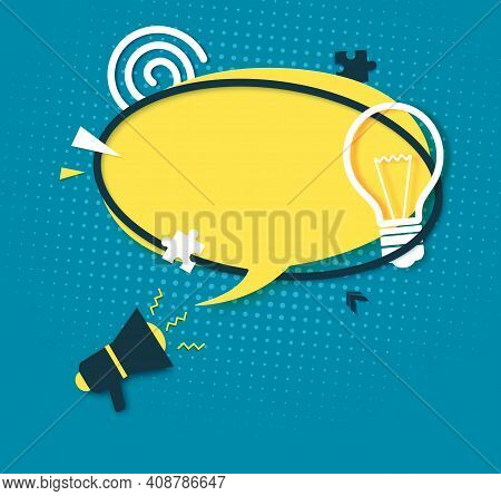 Yellow Speech Bubble And Megaphone In Paper Cut Art. Memphis Style Banner With Bulb Sign And Puzzle