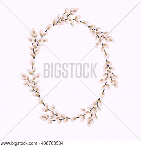 Oval Wreath Of Willow. Willow Wreath.easter Wreath Made Of Willow Stalks